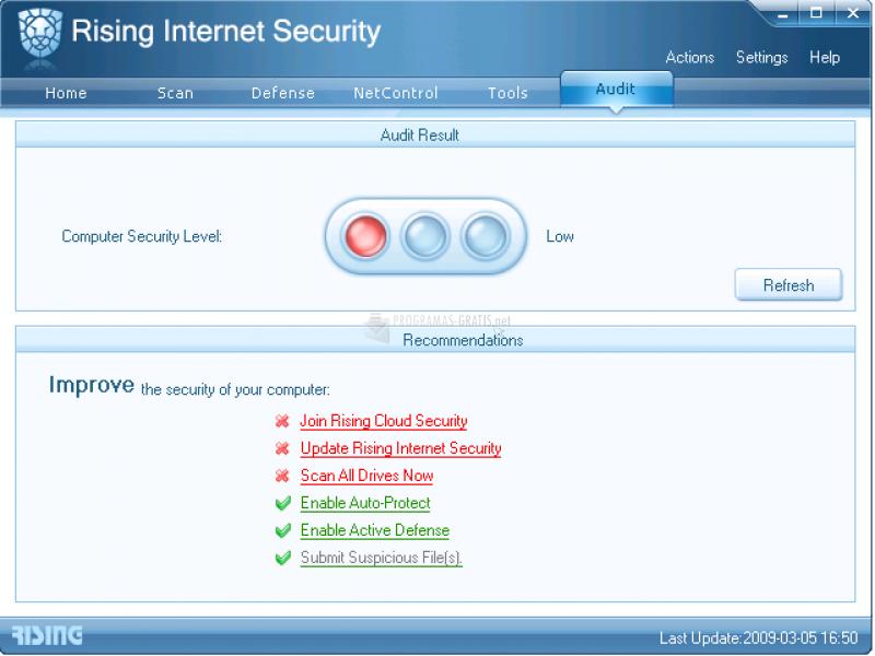 Pantallazo Rising Internet Security