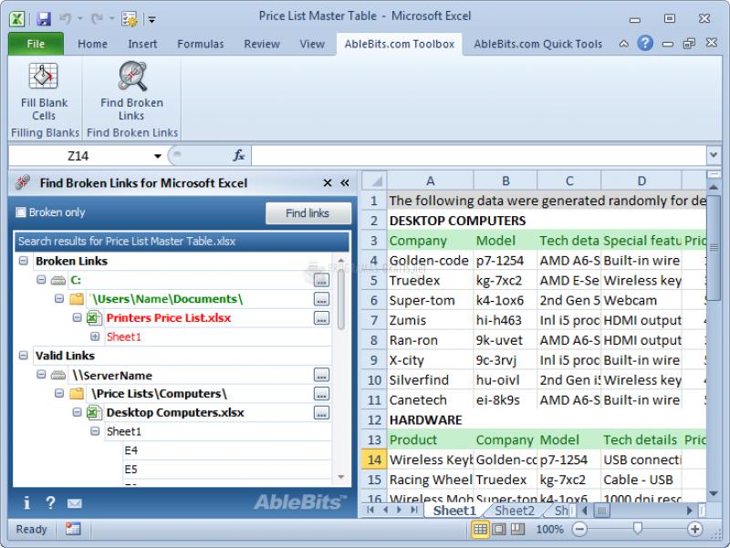 Pantallazo Find Broken Links for Excel
