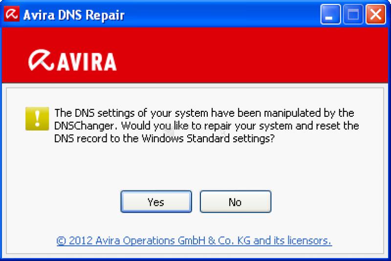 Pantallazo Avira DNS Repair-Tool