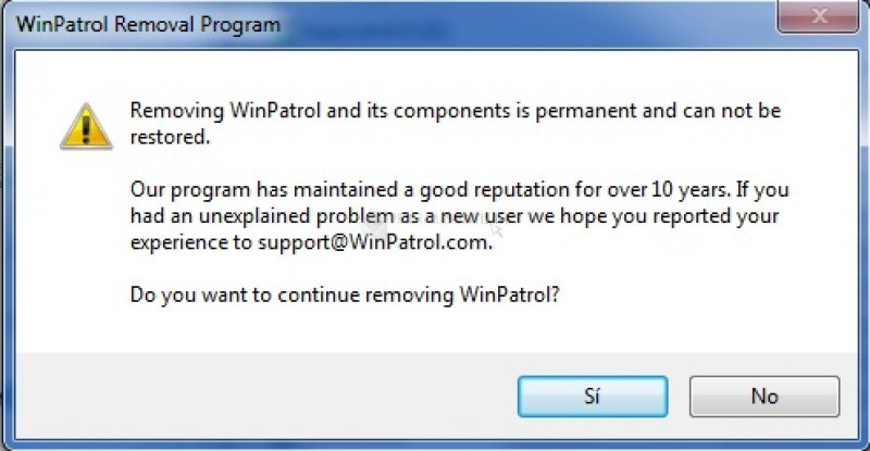 Pantallazo WinPatrol Removal Program
