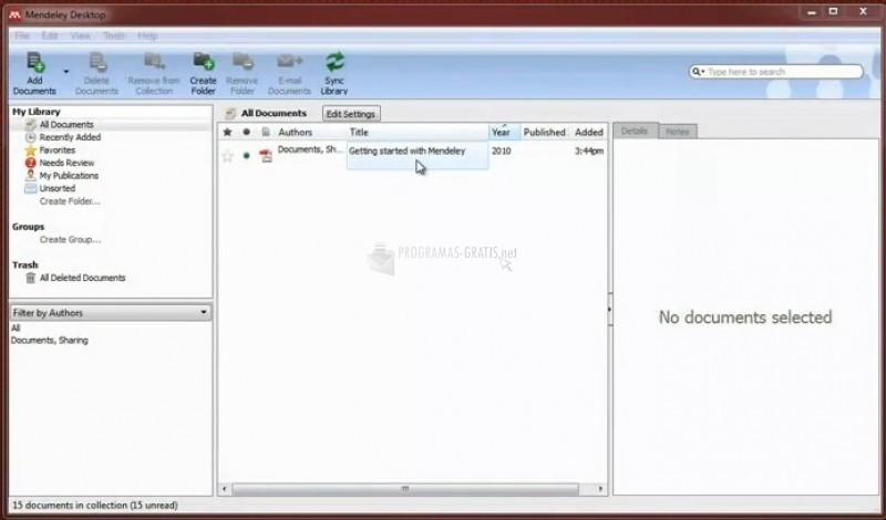Pantallazo Mendeley Desktop