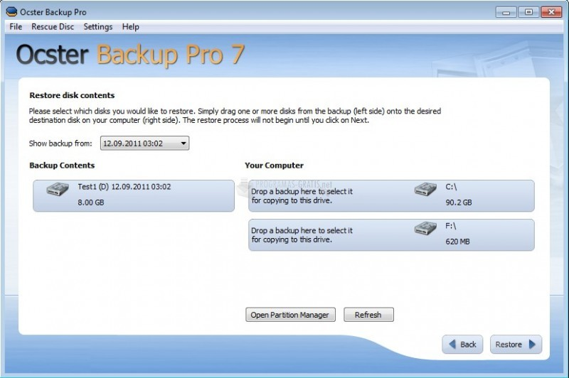 Pantallazo Ocster Backup Pro