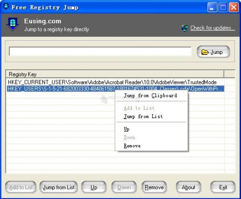 Pantallazo Eusing Free Registry Jump