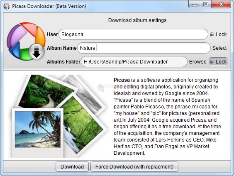 Pantallazo Picasa Album Downloader