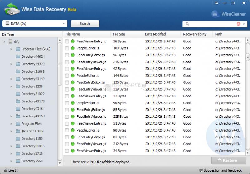 Pantallazo Wise Data Recovery
