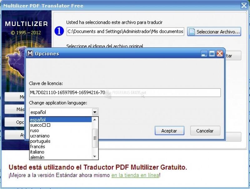 Pantallazo PDF Translator