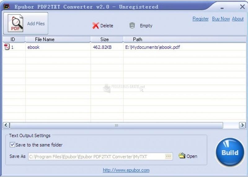 Pantallazo PDF 2 TEXT Converter