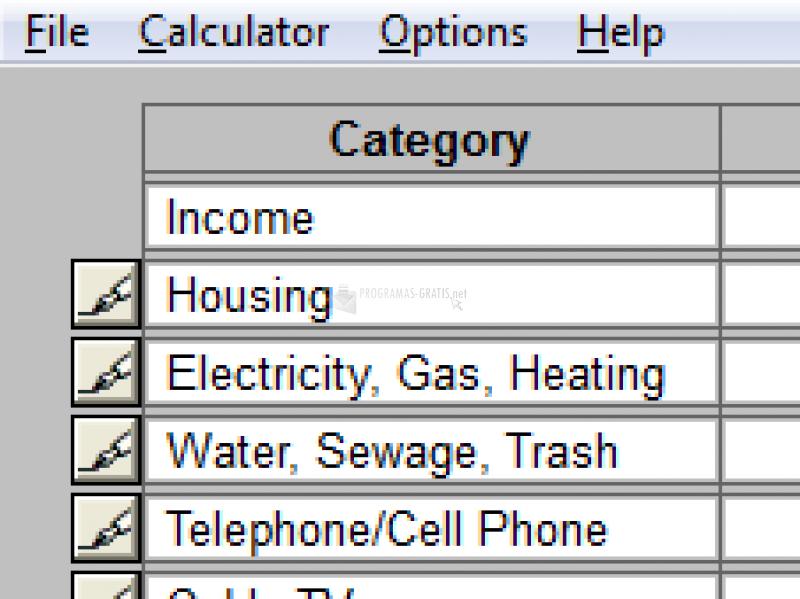Pantallazo Budget Worksheet