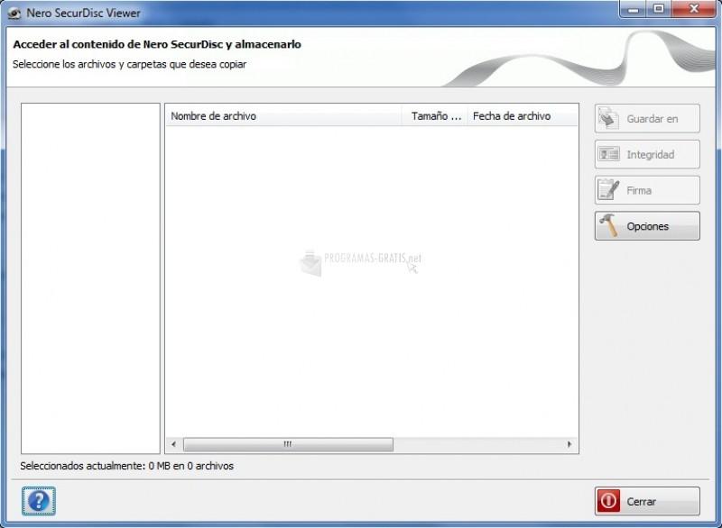 Pantallazo SecurDisc Viewer