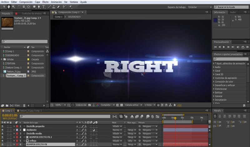 Pantallazo Adobe After Effects