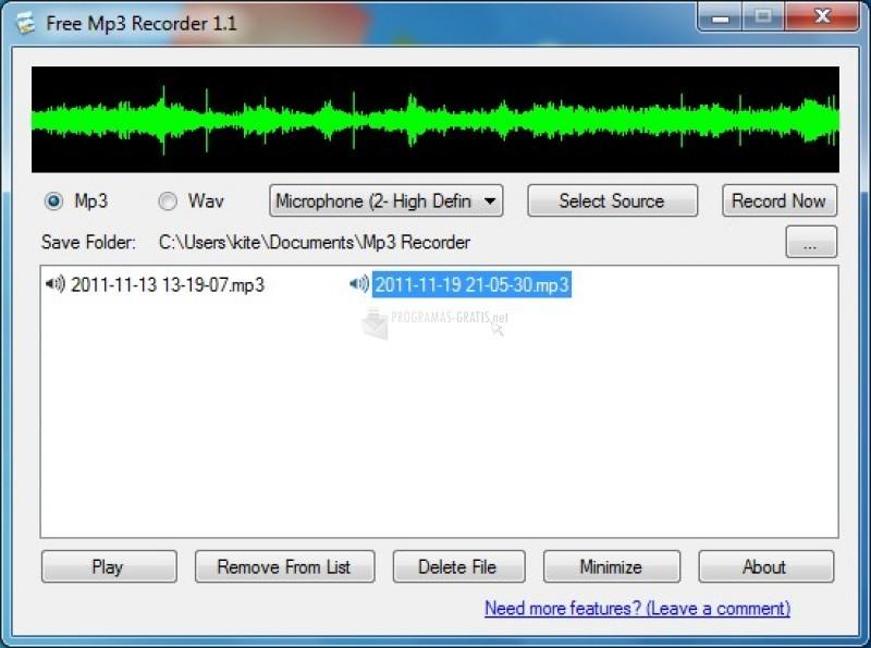 Pantallazo Free Mp3 Recorder