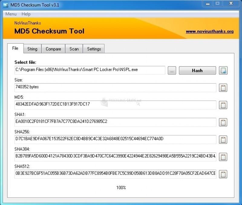 Pantallazo MD5 Checksum Tool