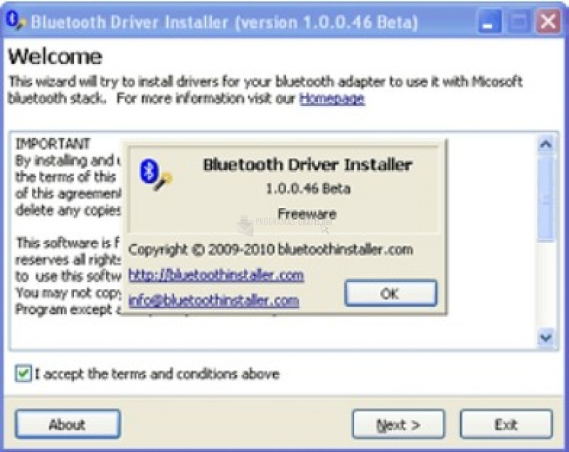 Pantallazo Bluetooth Driver Installer