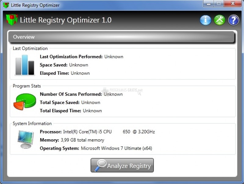 Pantallazo Little Registry Optimizer