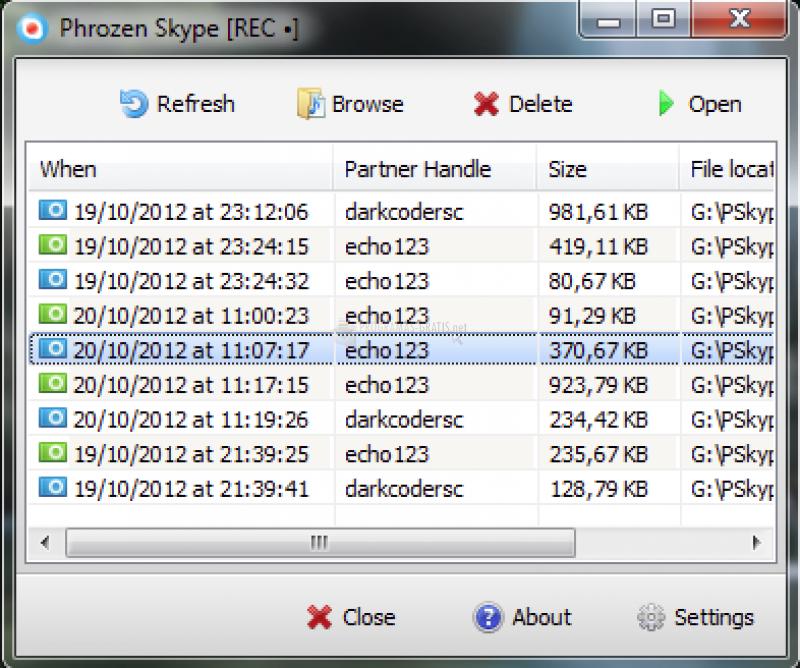 Pantallazo Phrozen Skype REC