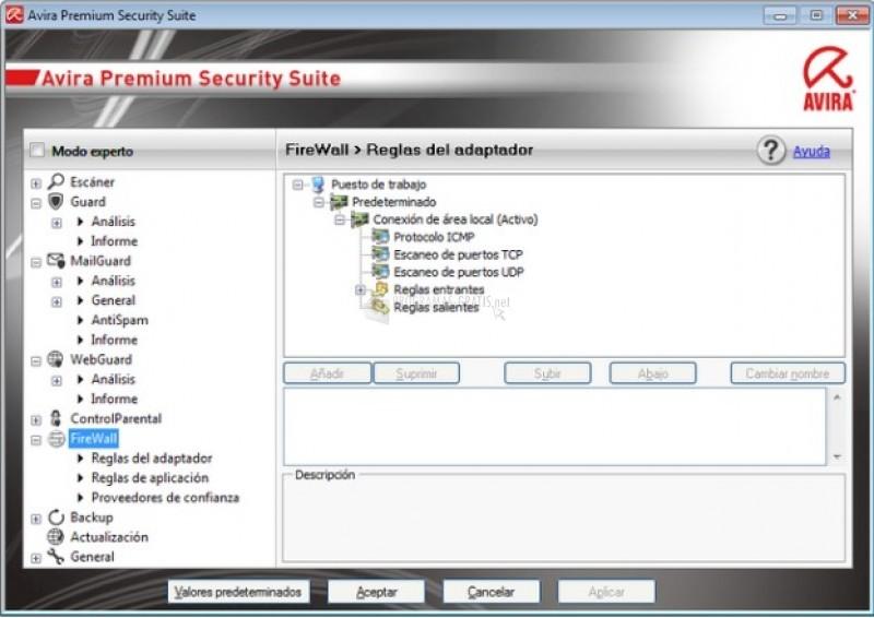 Pantallazo Avira Internet Security