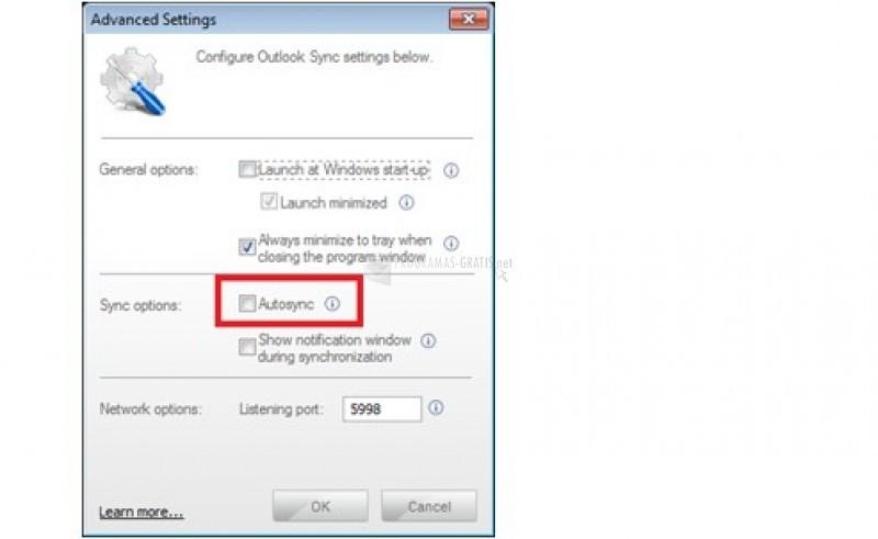Pantallazo Outlook Sync