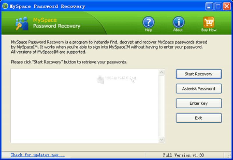 Pantallazo MySpace Password Recovery