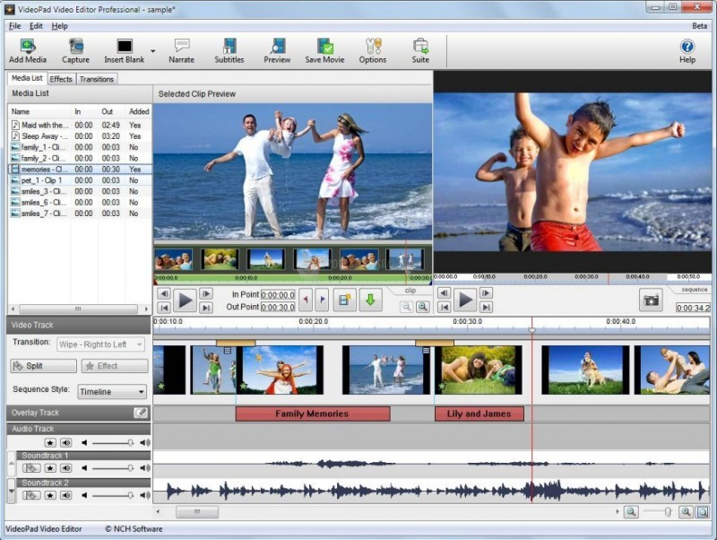 Pantallazo VideoPad Video Editor