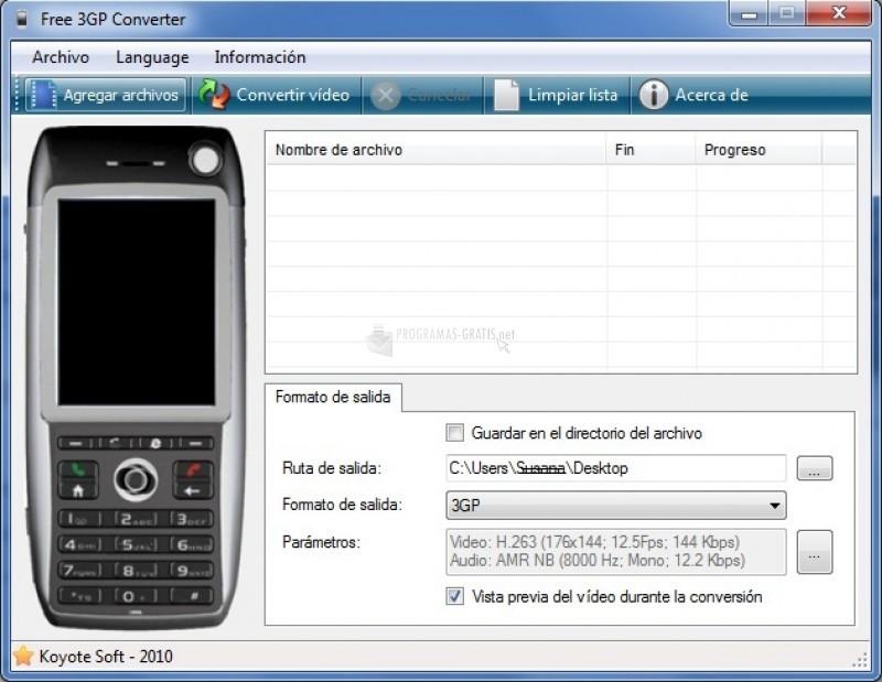 Pantallazo Koyote Free 3GP Video Converter