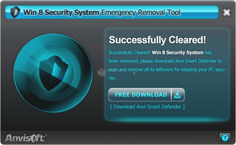 Pantallazo Win 8 Security System Removal Tool
