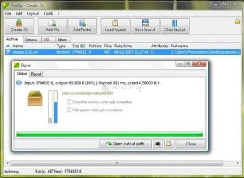 Pantallazo PeaZip (64 bit)