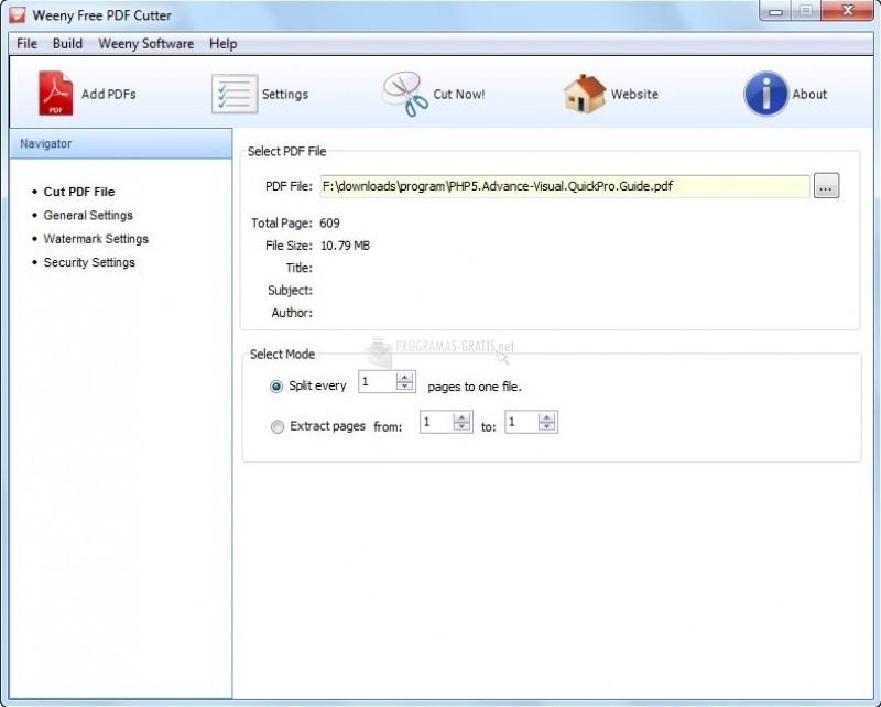 Pantallazo Free PDF Cutter