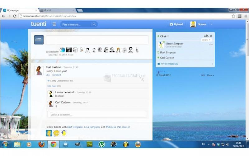 Pantallazo iSocial Chrome