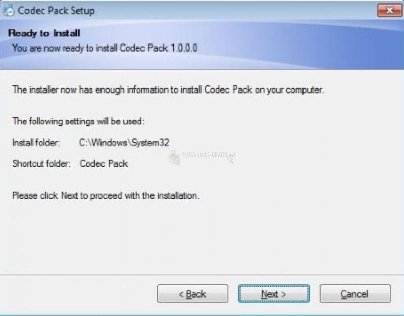 Pantallazo Codec Pack
