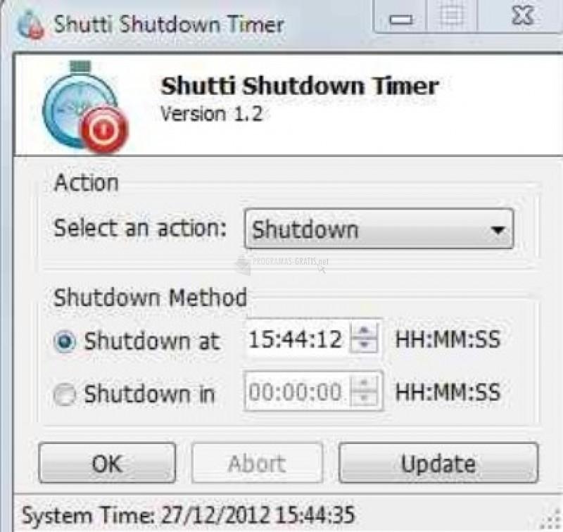 Pantallazo Shutti Shutdown Timer