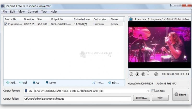 Pantallazo Icepine Free 3GP Video Converter