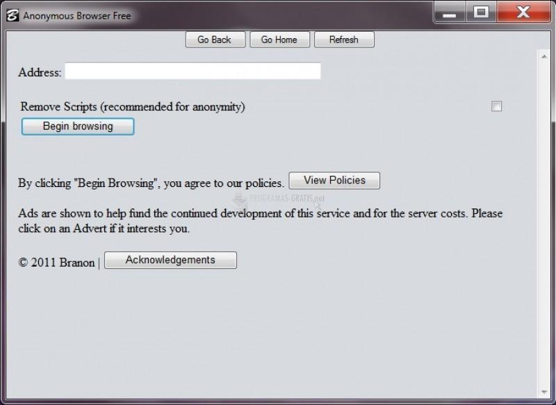 Pantallazo Anonymous Browser