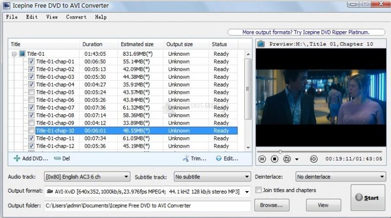 Pantallazo Free DVD to AVI Converter
