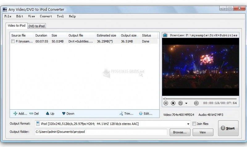 Pantallazo Video & DVD to iPod Converter