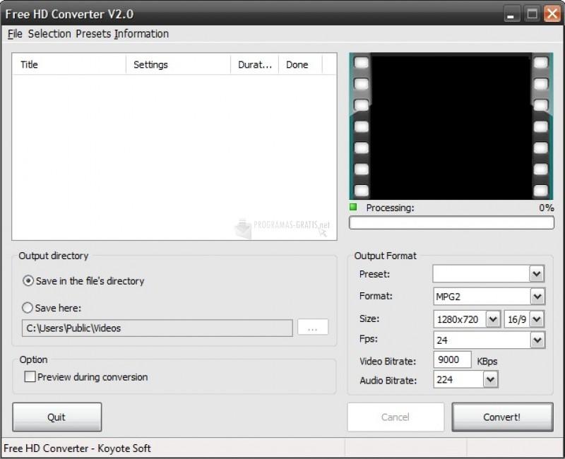 Pantallazo Free HD Converter