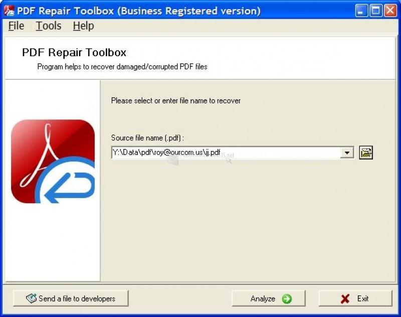 Pantallazo PDF Repair Toolbox