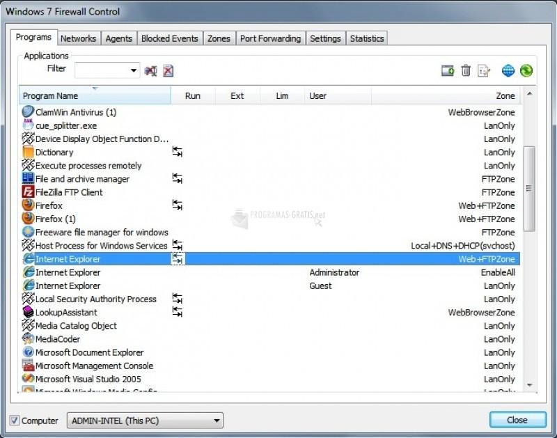 Pantallazo Windows 7 Firewall Control