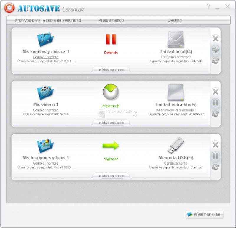 Pantallazo AutoSave Essentials