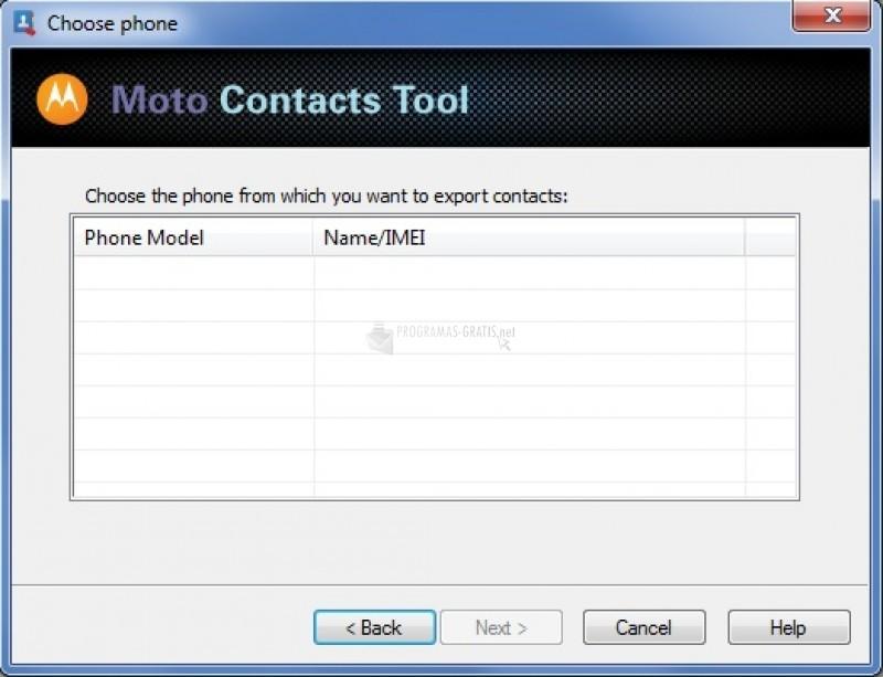 Pantallazo Moto Contacts Tool