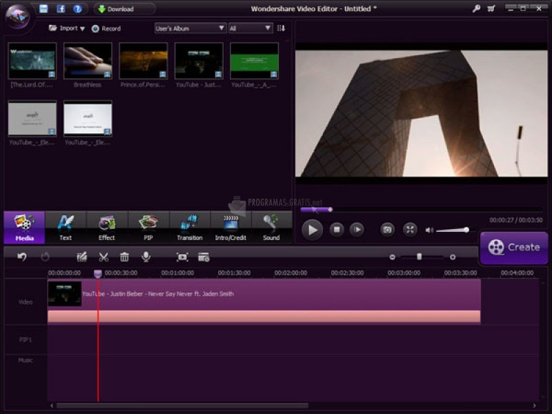 Pantallazo Wondershare Video Editor