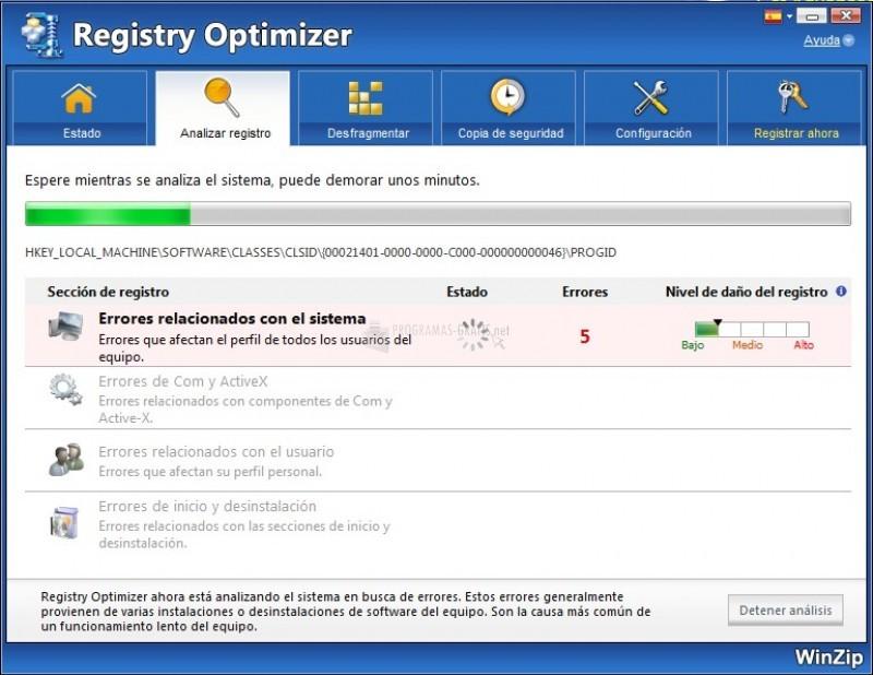 Pantallazo WinZip Registry Optimizer