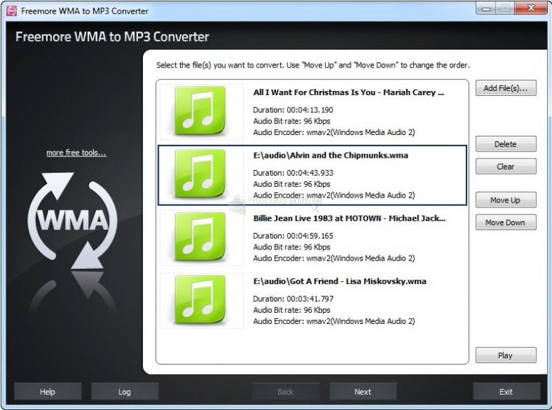 Pantallazo Freemore WMA to MP3 Converter