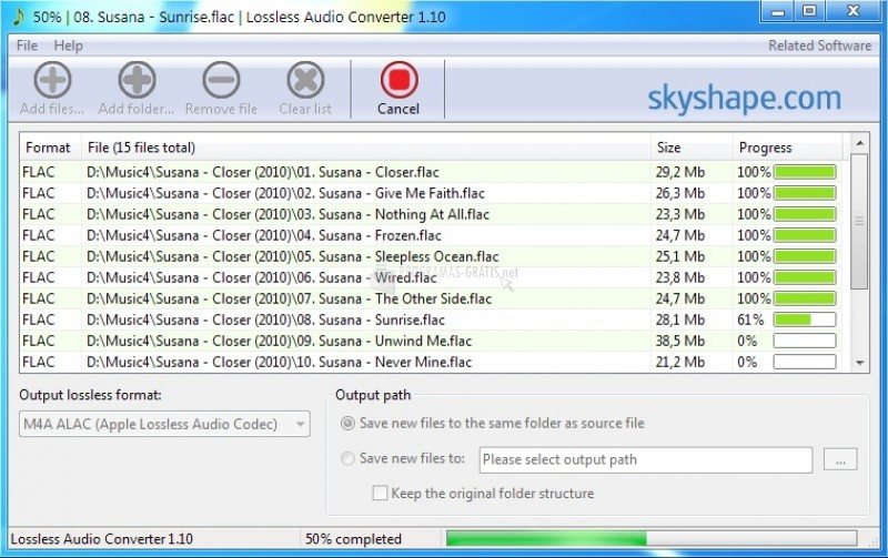 Pantallazo Lossless Audio Converter