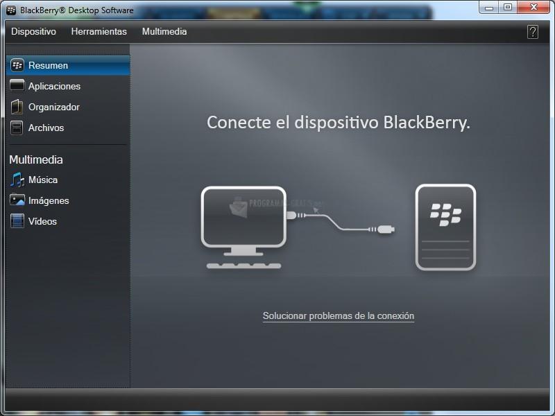 Pantallazo BlackBerry Desktop Manager