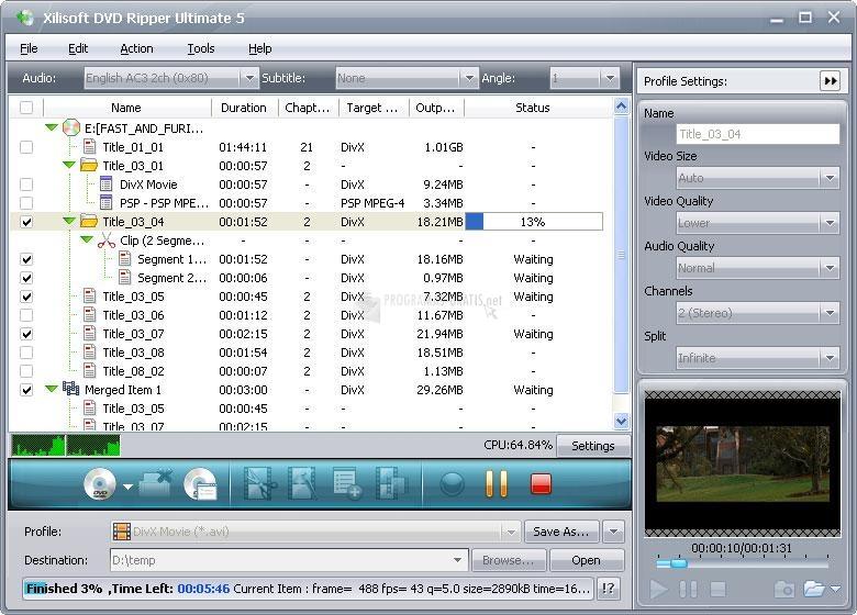 Pantallazo Xilisoft DVD Ripper
