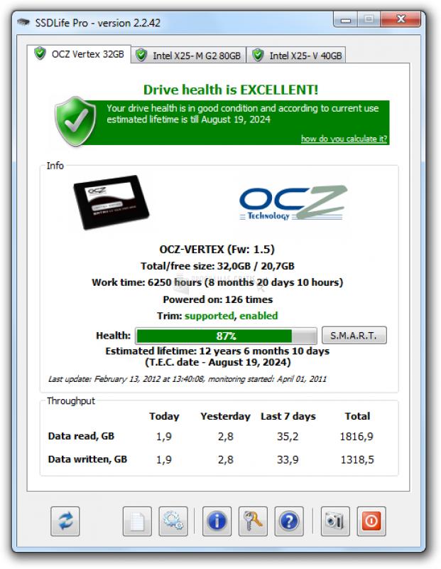 Pantallazo SSD Life Free