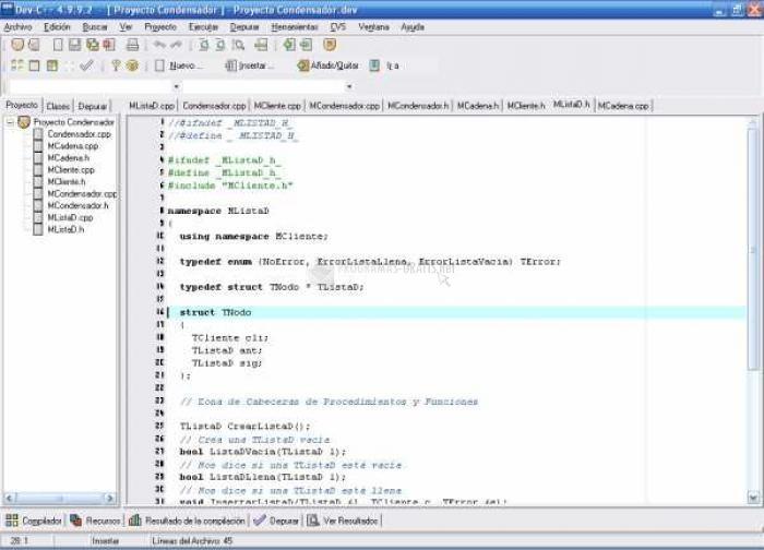 Pantallazo Dev-C ++