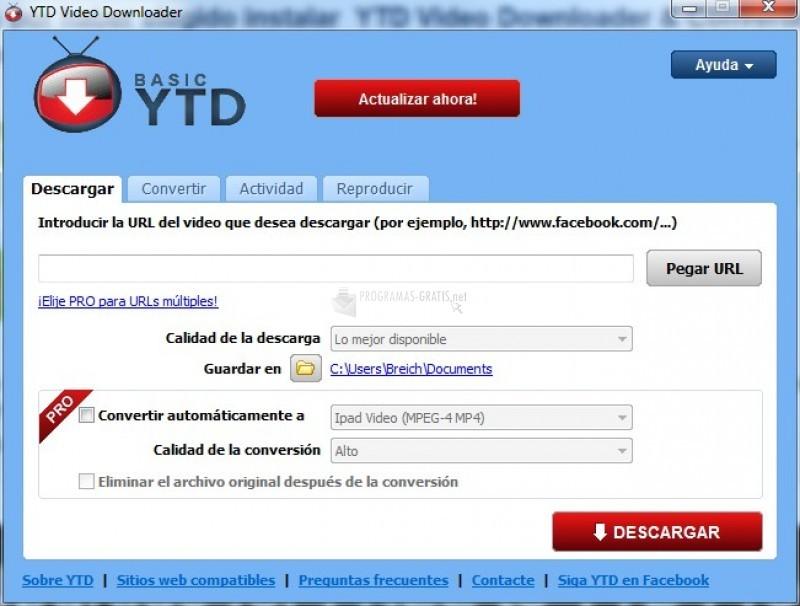 Pantallazo YTD Video Downloader