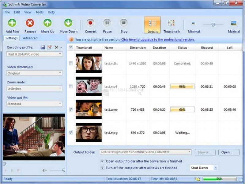 Pantallazo Sothink Free Video Converter