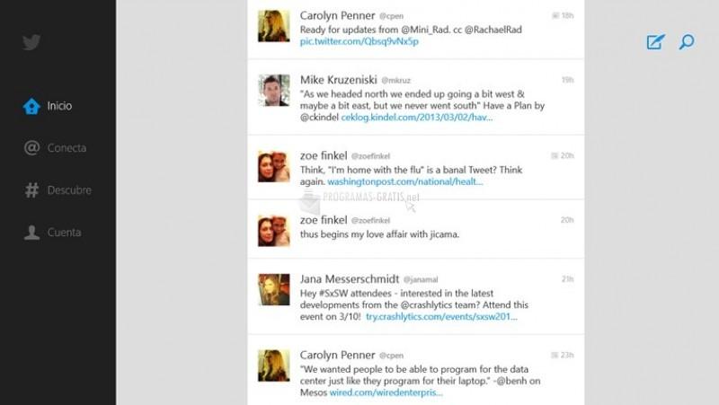 Pantallazo Twitter para Windows 8